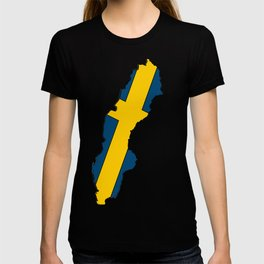 Sweden Map with Swedish Flag T-shirt