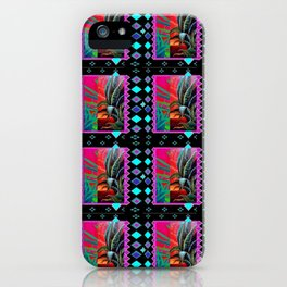 TURQUOISE DESERT AGAVE  BLACK ART PATTERN PAINTING iPhone Case