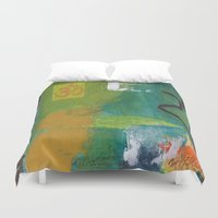 yoga Duvet Covers featuring YOGA by Prema Designs