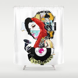 Winehouse Tribute Art Collage Amy Fly Me To The Moon by Michel Keck Shower Curtain