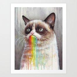 Cat Tastes the Grumpy Rainbow Art Print