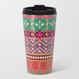 Seamless colorful aztec pattern with birds Travel Mug