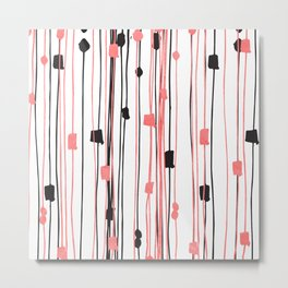Hand drawn coral black watercolor abstract pattern Metal Print