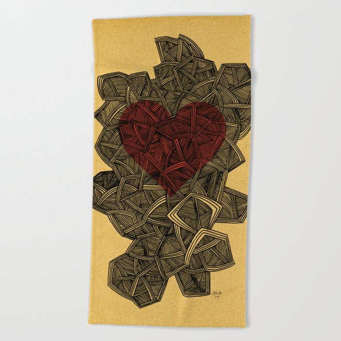 - heart line - Beach Towel