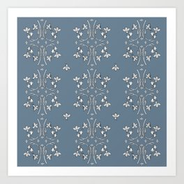 Bees and flowers pattern blue Art Print