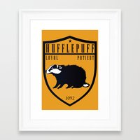 hufflepuff Framed Art Prints featuring Hufflepuff Crest by machmigo