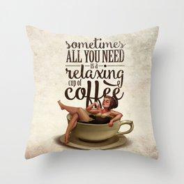 Coffee Lady Throw Pillow