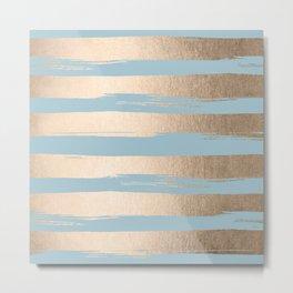 Painted Stripes Gold Tropical Ocean Sea Blue Metal Print
