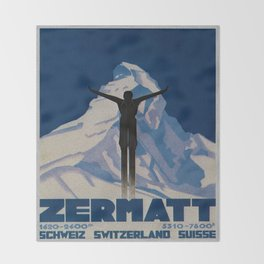 Vintage Zermatt Switzerland Travel Throw Blanket