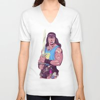 conan V-neck T-shirts featuring Conan the Barbarian by Mike Wrobel