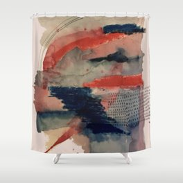 Independent: a red and blue abstract watercolor Shower Curtain