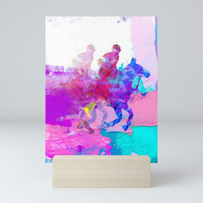 poloplayer abstract redblue Mini Art Print