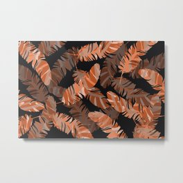 Coral Feathers Black background Metal Print