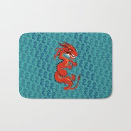 Red Dragon with Teal Bath Mat