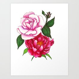 Rose and Peony Flowers Art Print