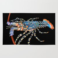 lobster Area & Throw Rugs featuring Rock Lobster by Tim Jeffs Art