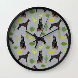Doberman Pinscher cactus desert southwest gifts for dog lover pet owner must haves pet friendly Wall Clock