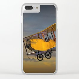 Yellow Biplane with Sunset Cloudy Sky Clear iPhone Case