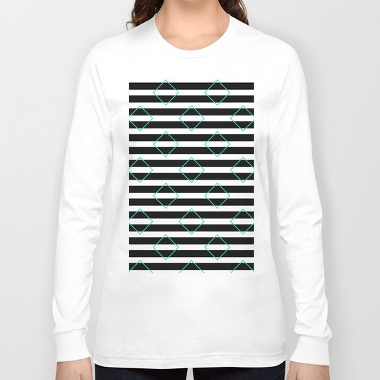 Black and White Stripes And Cyan Blue Squares Pattern Long Sleeve T-shirt