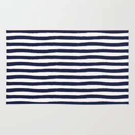 Navy Blue and White Horizontal Stripes Rug