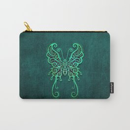 Intricate Teal Blue Vintage Tribal Butterfly Carry-All Pouch