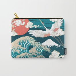 Abstract white crane flying up above Japanese torrential wave Carry-All Pouch