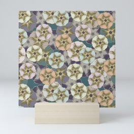 Scattered Honesty Flowers on Purple and Teal Mini Art Print