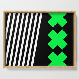 Bold Minimalism 2 (black and neon green) Serving Tray