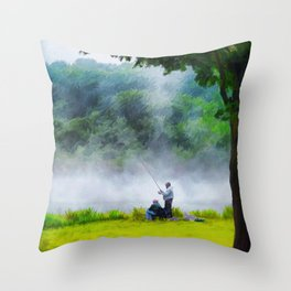 The Father and Son Fishers (Color) Throw Pillow