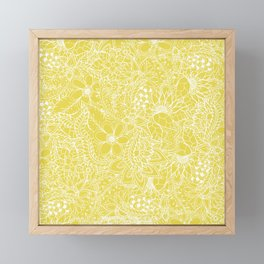Modern trendy white floral lace hand drawn pattern on meadowlark yellow Framed Mini Art Print