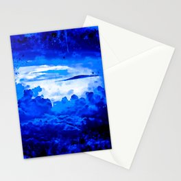 cloudy sky blue turquoise splatter watercolor Stationery Cards
