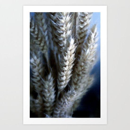 Dried Wheat head bunch Pastel Art Print