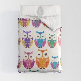 pattern - bright colorful owls on white background Comforters