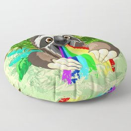 Sloth Spitting Rainbow Colors Floor Pillow