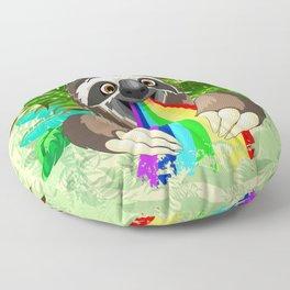 Sloth Spitting Rainbow Colors Floor Pillow