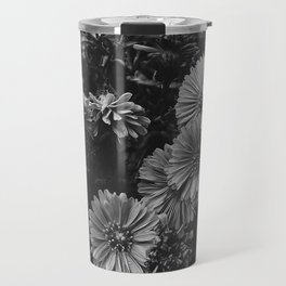 FLOWERS - FLORAL - BLACK AND WHITE Travel Mug