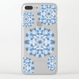 Crystals Succulents Mandala BLUE Clear iPhone Case