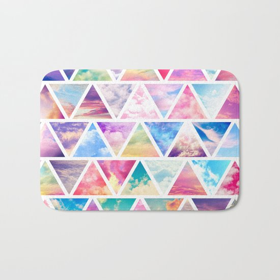 Pink Clouds Teal Sky Abstract Triangles Pattern Bath Mat