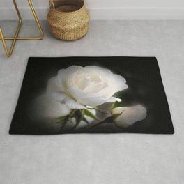 white rose and rosebud on black Rug