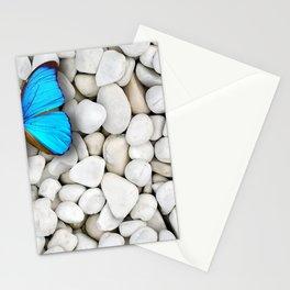 Marvelous Elegant Blue Butterfly Sitting On Gravel Ultra HD Stationery Cards