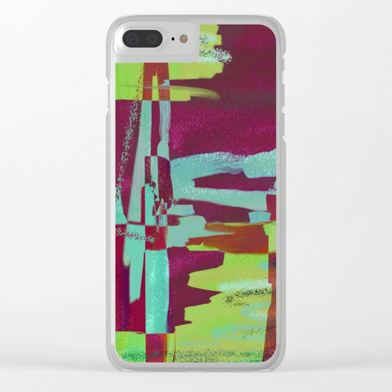 Raspberry Jam - Textured, abstract, raspberry, cyan and green painting Clear iPhone Case