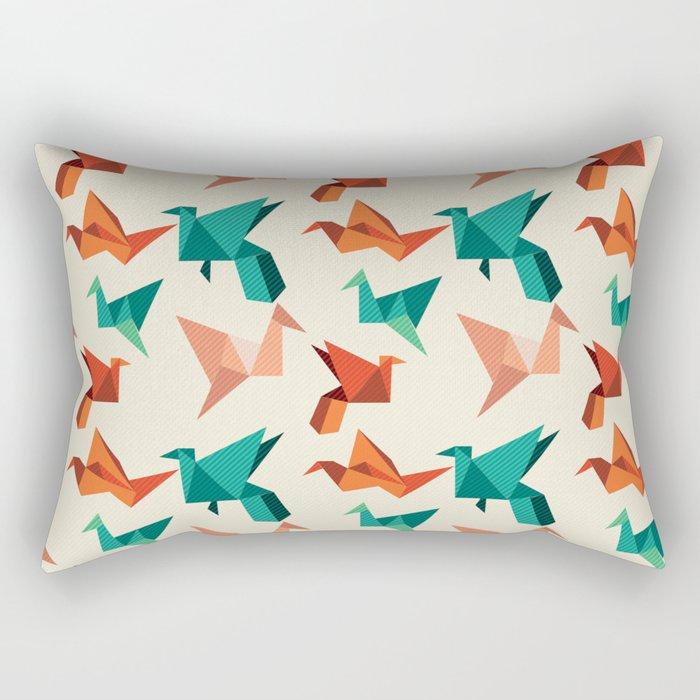 teal paper cranes Rectangular Pillow