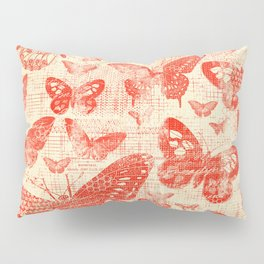 red, vintage, butterflies, parchment Pillow Sham
