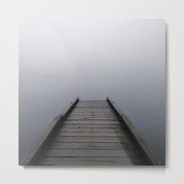 Foggy Mountain Lake Dock Metal Print