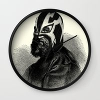 wrestling Wall Clocks featuring WRESTLING MASK 9 by DIVIDUS