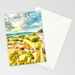 Obidos, small and authentic fortified town in Portugal Stationery Cards