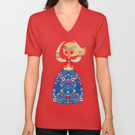 Folk Girl Unisex V-Neck
