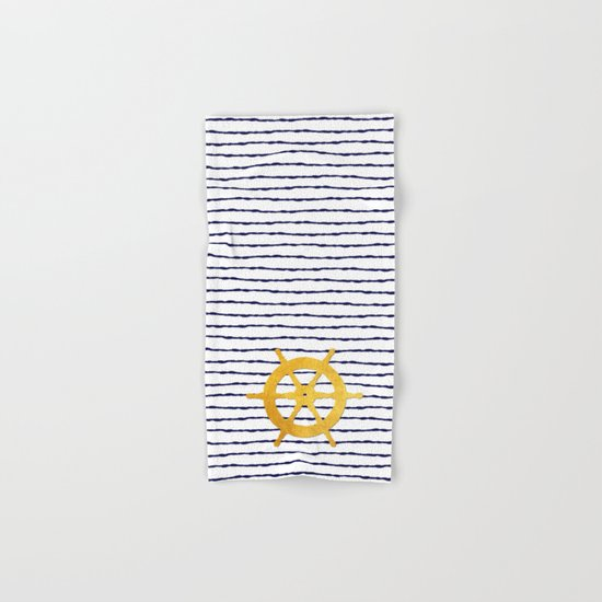 Marine pattern- Navy blue white striped with golden wheel Hand & Bath Towel