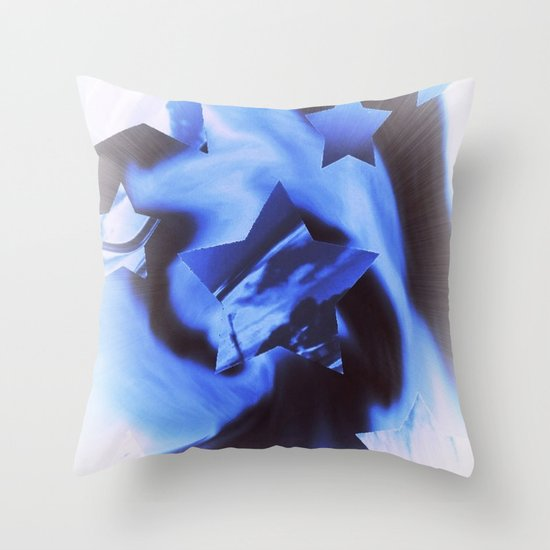 Starburts II cold blue Throw Pillow