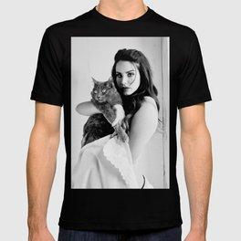 Lana de-l Rey with cat print, Lana de-l Rey poster T-shirt